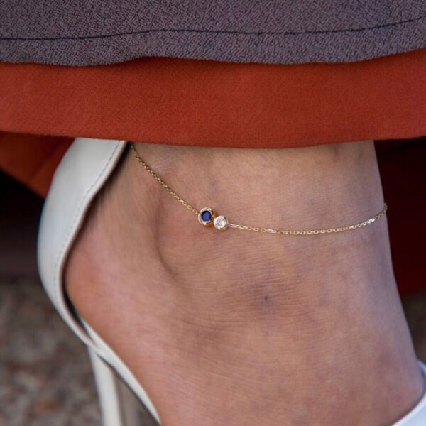 Anklet Duo 1 Diamonds 0.05CT 0.10CT Sapphire