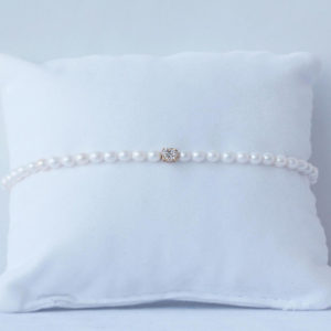 Baby Bracelet Pearls with Diamond Cluster