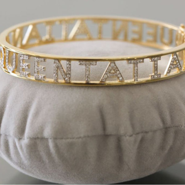 Bangle Name with Full Diamond Around