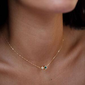 Necklace Duo 1 Diamonds 0.05CT 0.10CT Emarald