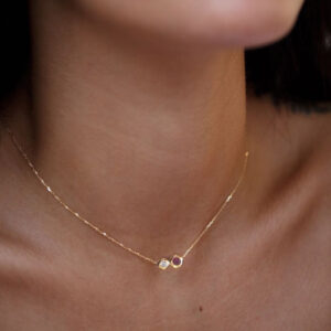 Necklace Duo 1 Diamonds 0.05CT 0.10CT RUBYs