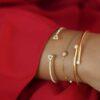 BRACELET CONSTELLATION 18K GOLD AND 0.10 CARAT DIAMOND, HALF THREAD - HALF CHAIN