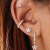 EARRINGS STUD MARQUISE 18K GOLD AND DIAMOND (SINGLE PIECE)