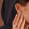 EARRINGS LETTER 0.10 CARAT DIAMONDS 18K GOLD