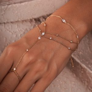Hand Chain Marquise 18k Gold and diamonds