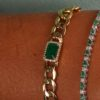 BRACELET CUBAN LINKS PRECIOUS STONE, 18K GOLD AND DIAMONDS - RUBY | EMERALD | SAPPHIRE
